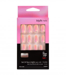 Ongles - Nail art - Faux ongles - Kit 24 faux ongles Idyllic nails - Holo rose - Réf. 150043