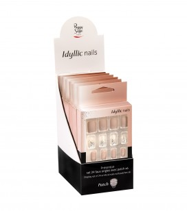 Ongles - Prothésie ongulaire - Faux ongles - Présentoir - Set 24 faux ongles avec patch -  nude sparkle x6 - Réf. 151551