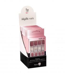 Ongles - Prothésie ongulaire - Faux ongles - Présentoir - Set 24 faux ongles avec patch - pink sparkle x6 - Réf. 151552