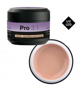 Ongles - Prothésie ongulaire - Gels - Pro 3.1 Gel monophase UV&LED 15 g Camouflage Natural Beige - Réf. 146622