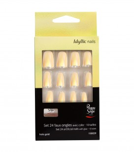 Ongles - Nail art - Faux ongles - Kit 24 faux ongles Idyllic nails - Holo gold - Réf. 150039