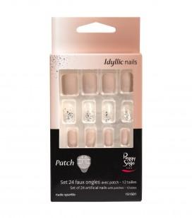 Ongles - Prothésie ongulaire - Faux ongles - Set 24 faux ongles avec patch - nude sparkle - Réf. 151501EC