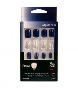 Nagels - Kunstnageltechnieken - Kunstnagels - Set 24 nageltips met patch - deep blue - REF. 151505EC