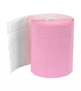 Pro accessoires - Cabine accessoires en textiel - Set van 2 rollen met 500 tweekleurige wattenvierkantjes / roze - wit - REF. 155457