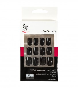 Nagels - Nail art - Kunstnagels - Set 24 kunstnagels Idyllic nails - black - REF. 150076