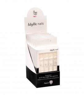 Ongles - Prothésie ongulaire - Faux ongles - Présentoir - Set 24 faux ongles avec patch - French glitter x6 - Réf. 151550