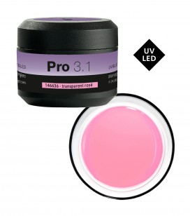 Ongles - Prothésie ongulaire - Gel pro 3.1 - Pro 3.1 Gel UV&LED de construction transparent rosé - Réf. 146636