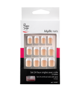 Ongles - Nail art - Faux ongles - Kit 24 faux ongles Idyllic nails - silver French - Réf. 150087