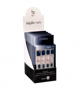 Ongles - Prothésie ongulaire - Faux ongles - Présentoir - Set 24 faux ongles avec patch - deep blue x6 - Réf. 151555