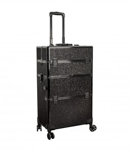 Make-up - Accessoires - Tassen en koffers - Studio Trolley-Koffer für Profis - black glitter - Art.-Nr. 201203