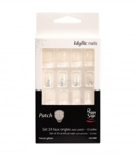 Ongles - Prothésie ongulaire - Faux ongles - Set 24 faux ongles avec patch - glitter French - Réf. 151500EC