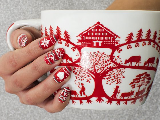 Nail art pull de Noël